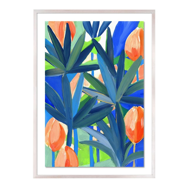 Palm Cay 1 by Lulu DK in White Wash Framed Paper, Medium Art Print For Sale