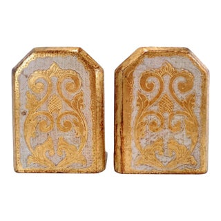 1960's Italian Florentine Hand Painted Gold Gilt Bookends For Sale