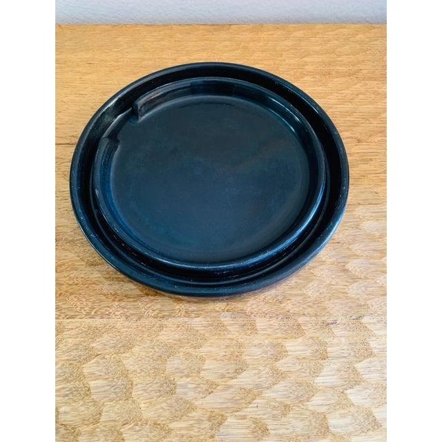 Mid-Century Modern Mid-Century Modern Black Gainey Ceramics Planter Pot Plus Draining Platter Saucer For Sale - Image 3 of 10