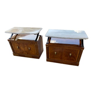 1980s Henredon Burl Nightstand Tables with Granite Tops - a Pair For Sale