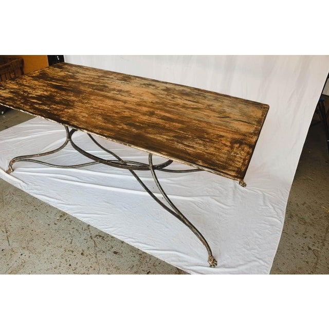 French Large French Wrought Iron Garden Table From Arras With Rectangular Top For Sale - Image 3 of 13