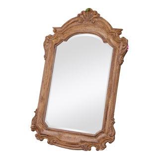 Vintage Wood Carved Solid Distressed Mirror For Sale