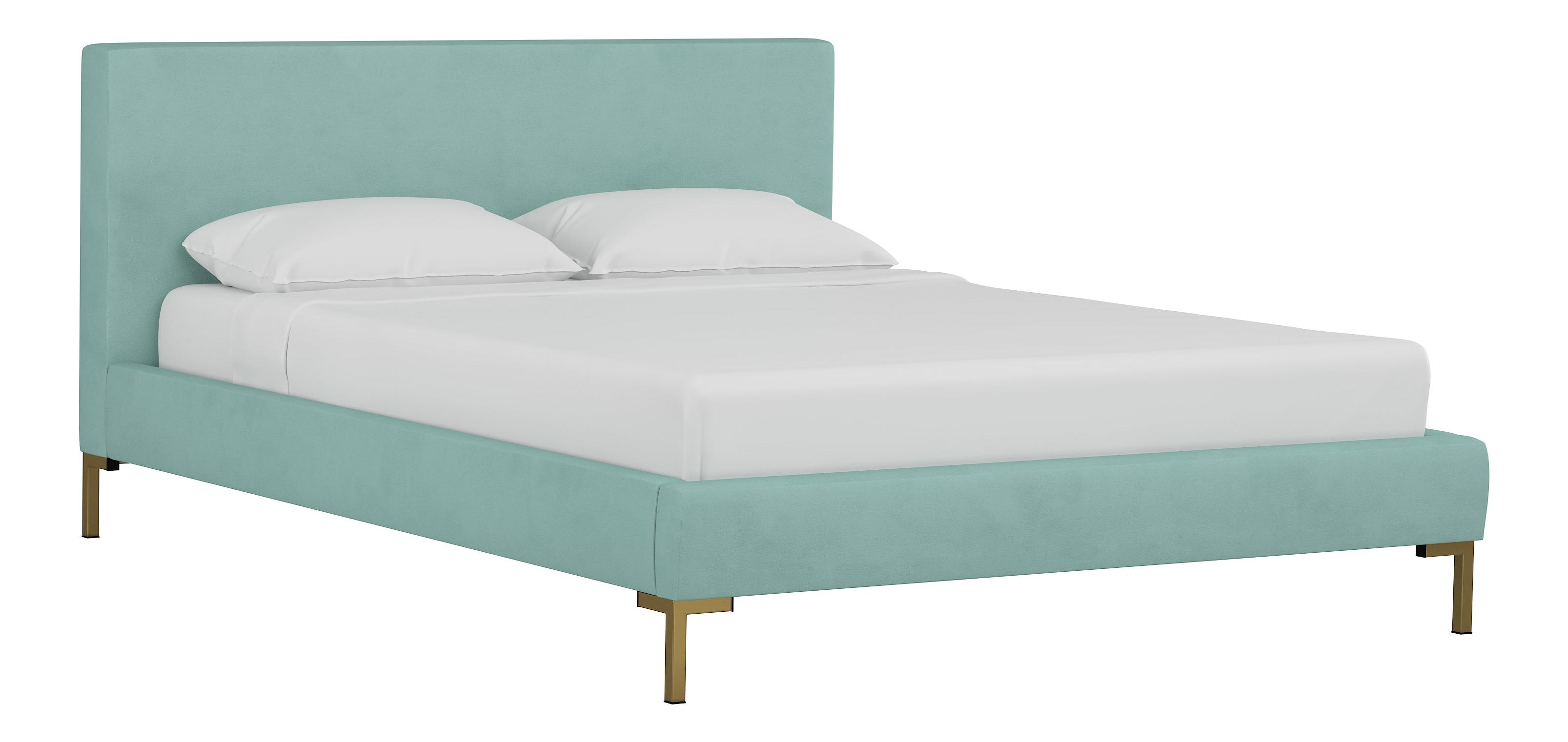 Queen Platform Bed Velvet Caribbean Chairish