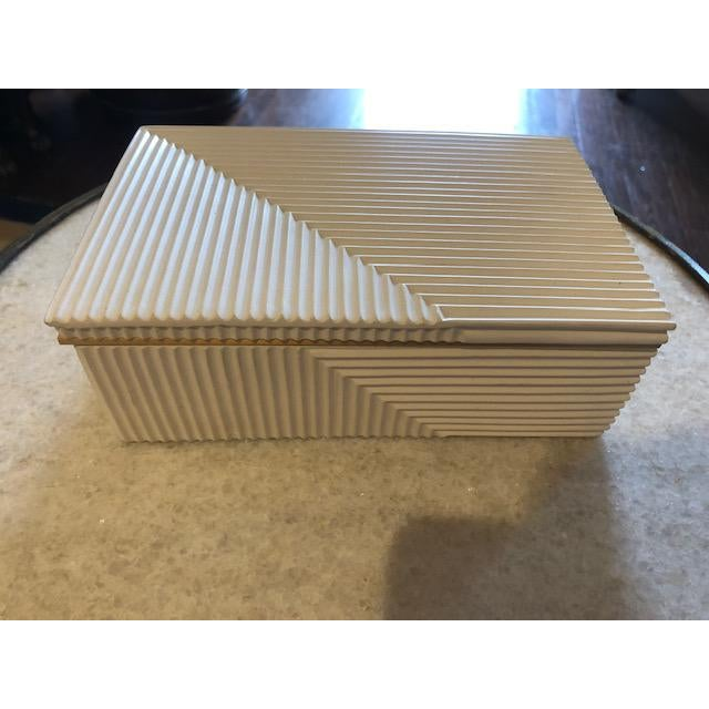 2010s Modern Cream Cement Box For Sale - Image 5 of 6