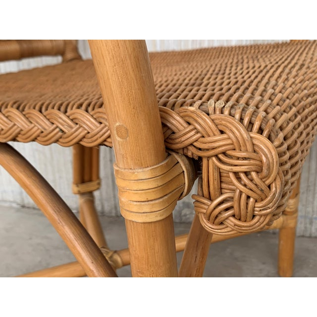 Midcentury Set of Six Bamboo and Rattan Dining Room Armchairs For Sale In Miami - Image 6 of 13