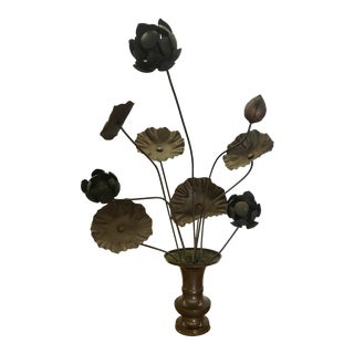 Pair of 19th Century Bronze Japanese Temple Flowers For Sale