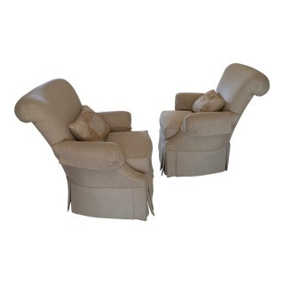 Thomasville Upholstered Arm Chairs - Pair For Sale