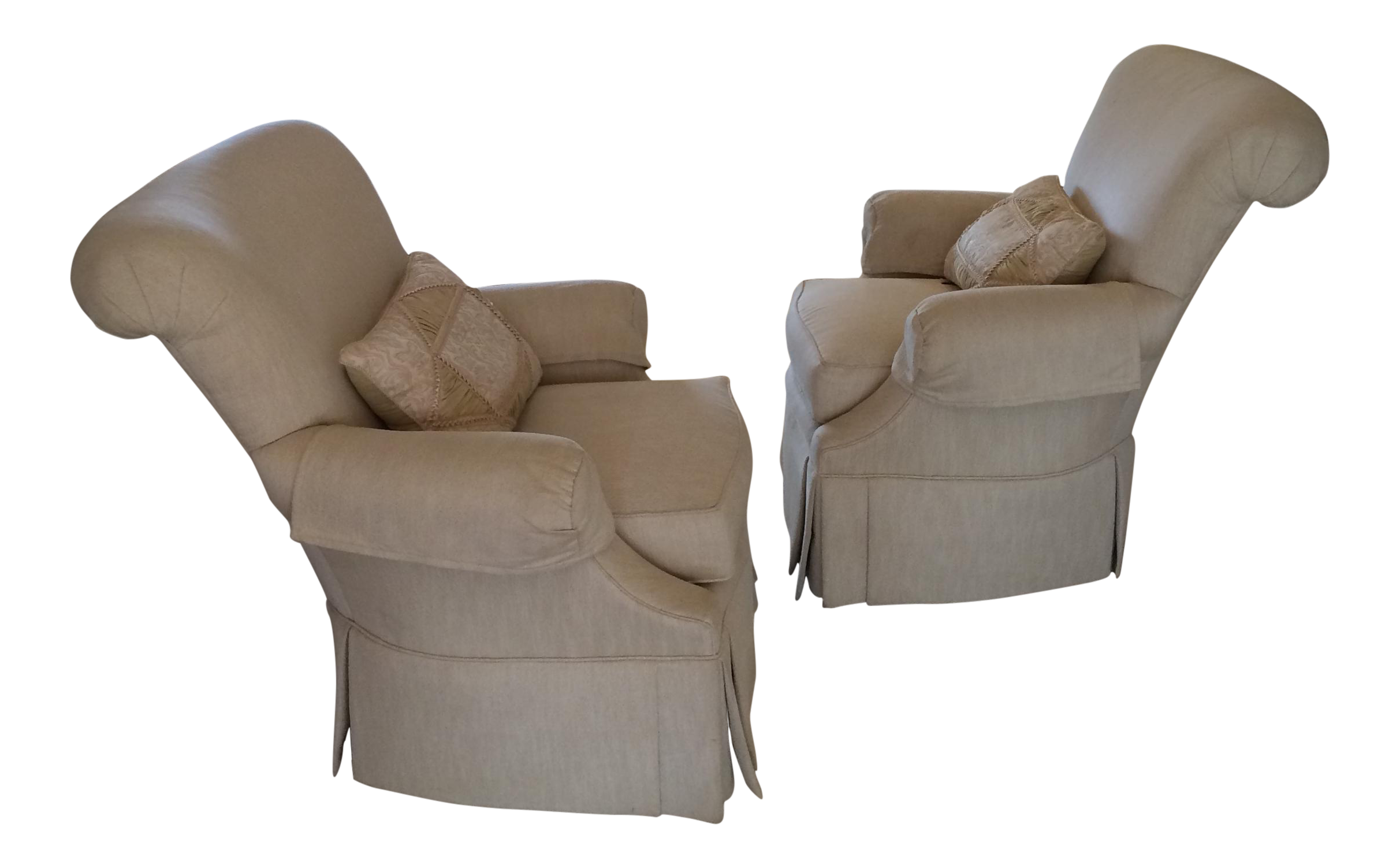 Thomasville Upholstered Arm Chairs   Pair