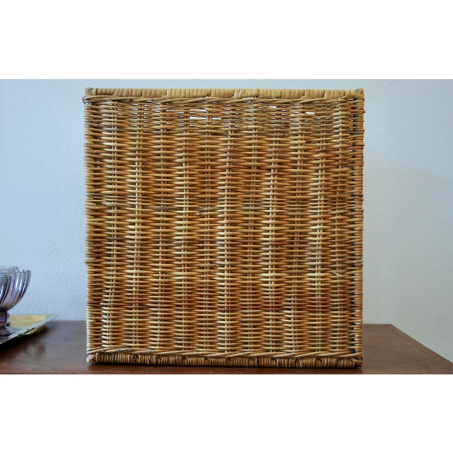 Metal Modernist Wicker Cube Planter / Side Table For Sale - Image 7 of 13