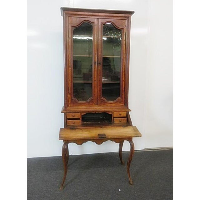 18th centuary French inlaid secretary desk with 4 shelves, 5 drawers and a drop down desk.