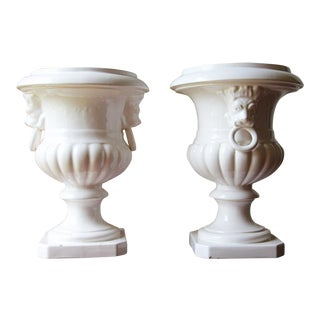 Antique Portuguese White Tin-Glazed Earthenware, Architectural Urn Finials - a Pair For Sale