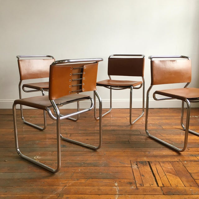 Vintage Oiled Leather & Chrome Cantilever Chairs by Nicos Zographos - Set of 4 For Sale - Image 9 of 9