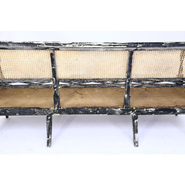 Mid-Century Modern Swedish Cane Back Settee For Sale - Image 3 of 13