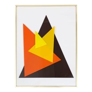 Vintage 1970s Plexiglass Triangulum Geometric Acrylic Art by J. O'Connor For Sale
