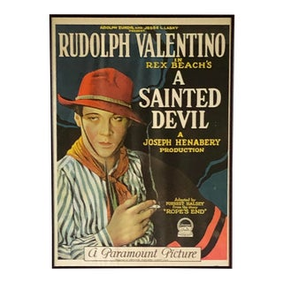 Early 20th Century Valentino Framed Silent Movie Poster For Sale