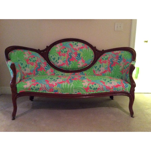 Lilly Pulitzer Refurbished Antique Settee/Sofa - Image 2 of 7