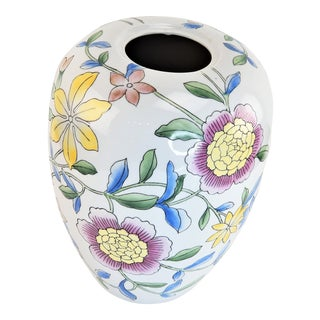 "Asian 14"" Floral Pink Peony White Yellow Porcelain Vase For Sale"