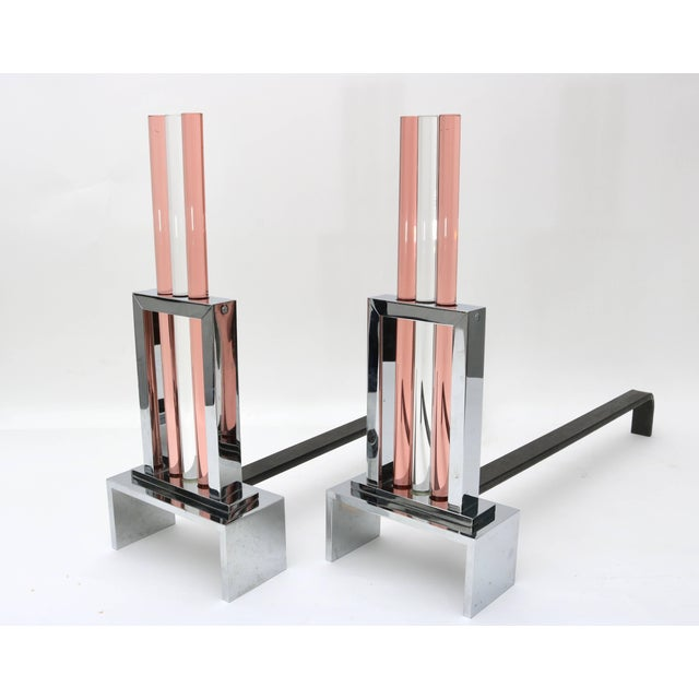 French Art Deco Fireplace Andirons in Polished Chrome and Glass For Sale In West Palm - Image 6 of 11