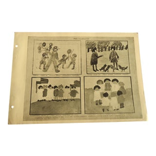 Children's Drawings 1930 Art Deco Print For Sale