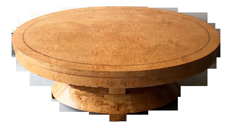 1980u0027s Italian Inlaid Burl Wood Round Coffee Table