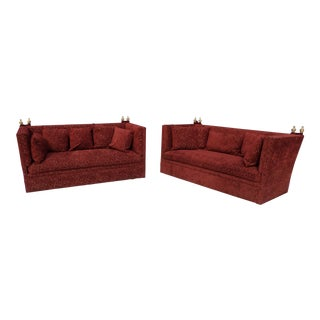 Knole Red Custom Sofas - A Pair For Sale