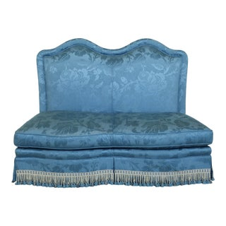Baker Blue Damask Upholstered Loveseat Settee For Sale
