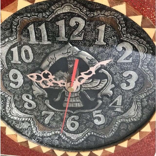 Khatam Kari Signed Original Wood Inlay Clock - Image 4 of 6