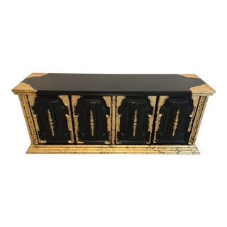 1960s Hollywood Regency Gold and Ebony Credenza For Sale