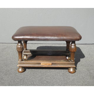 Antique Victorian Style Brown Leather & Carved Wood Bench Foot Stool Ottoman Preview