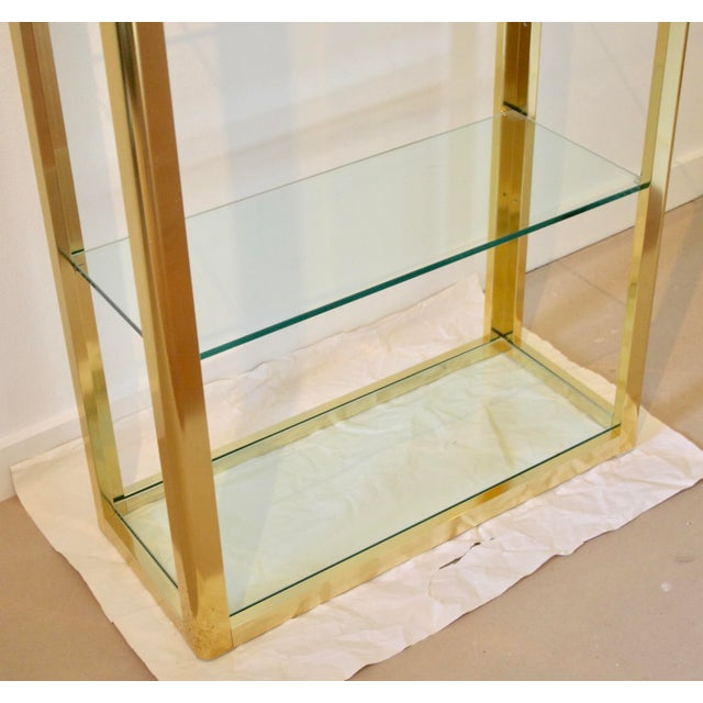 Glass Milo Baughman Style Brass Etagere Shelving Unit For Sale - Image 7 of 11