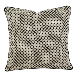 """F. Schumacher Bristol Weave in Noir With Black Cording Pillow Cover - 20"""" X 20"""" Woven Black and Cream Basket-Woven Pattern Cushion Case For Sale"""