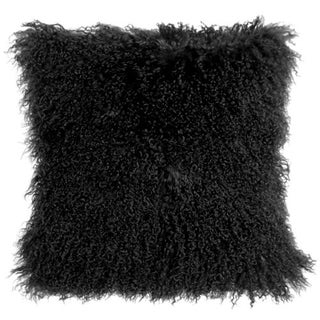 Mongolian Sheepskin Black 18x18 Pillow