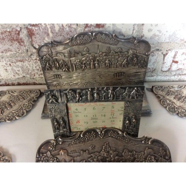 Antique Silver Plated Calendar Desk Set - 9 Pieces For Sale - Image 9 of 10