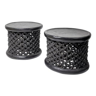 Pair of Zimbabwian Black Hardwood Tables Carved From the Mukwa Tree For Sale