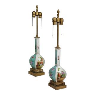 Fine Dresden Porcelain Lamps For Sale