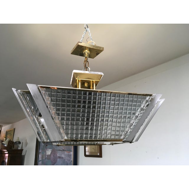 Brass Fredrick Ramond Post Modern Square Brass & Glass Chandelier For Sale - Image 7 of 11