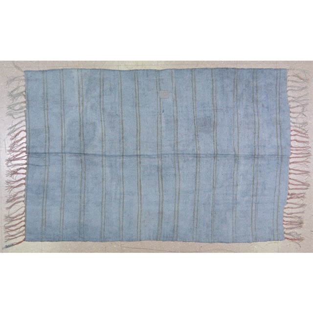 """Vintage Turkish Tribal Natural Color Hand Made Organic Hemp Anatolian Kilim,4'5""""x6'9"""" For Sale In New York - Image 6 of 6"""