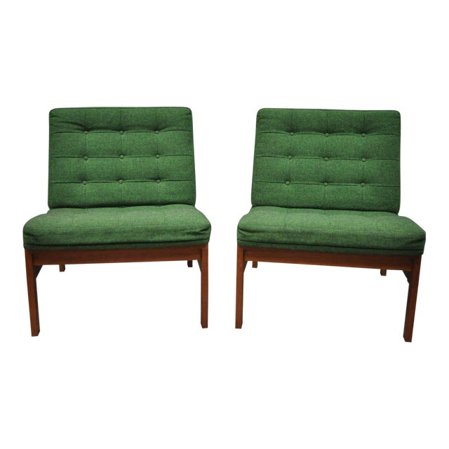 1960s Vintage Gjerlov Knudsen Torben Lind France & Son Green Teak Moduline Slipper Chairs- A Pair For Sale