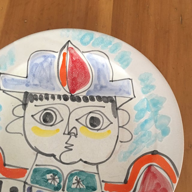 """DeSimone Mi- Century 10 """" Pottery Charger For Sale In Charleston - Image 6 of 10"""