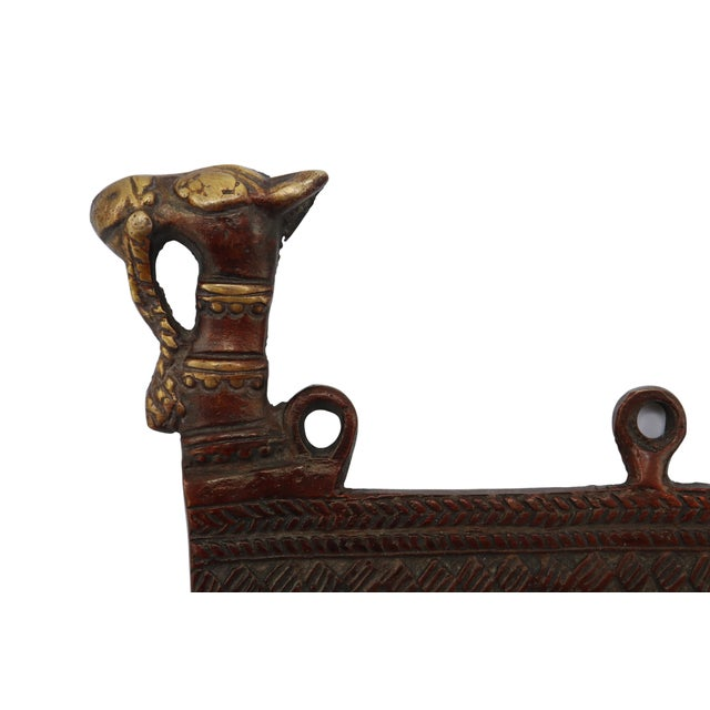 Rustic Bohemian Red Brass Camel Wall Hooks For Sale - Image 3 of 5