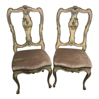 French Hand-Painted Chairs - a Pair