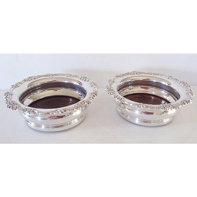 English Silver Wine Coasters - Pair - Image 2 of 5