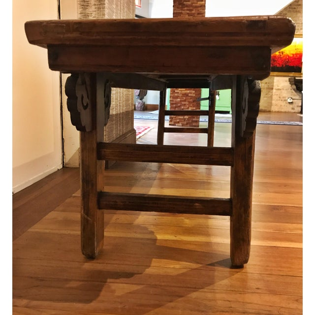 Chinese Antique Carved Wood Bench For Sale - Image 4 of 11