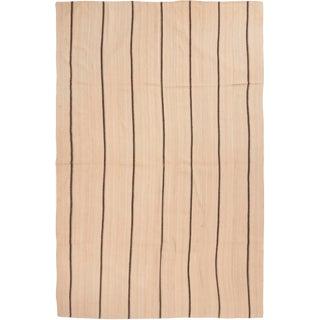 Antique Mid-Century Beige Striped Wool Kilim Rug - 7′9″ × 11′10″ For Sale