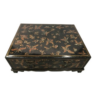 Black Lacquer Chinoiserie Large Coffee Cocktail Table Butterflies Eight Drawers For Sale