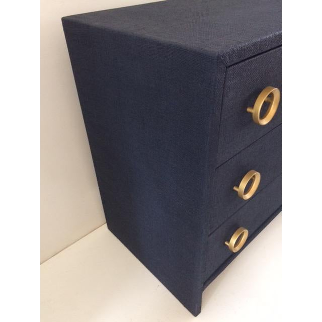 Blue Contemporary Todd Hase Three Drawer Burlap Wrapped Chest For Sale - Image 8 of 13