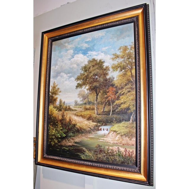 Fill a room and walk right into this large scale original modern day painting, gilt and black wood frame and wonderful...