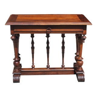 Beautiful French 19th Century Renaissance Revival Writing Table Or Console Table Solid Walnut .