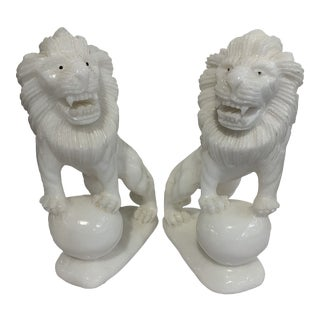 White Alabaster Lions - a Pair For Sale