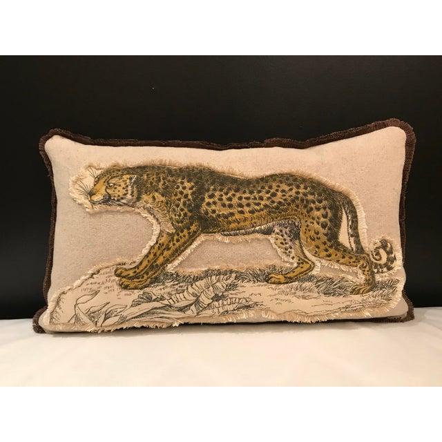 Safari Linen & Cotton Applique Cheetah Pillow For Sale - Image 9 of 9